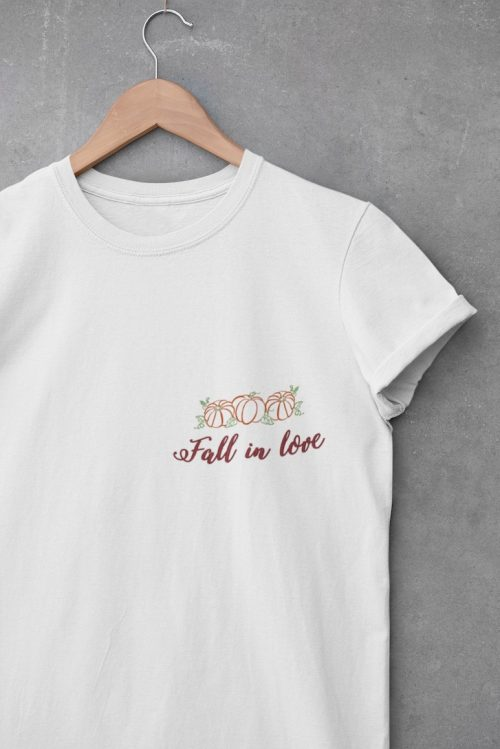 tshirt ricamata fall in love bianca